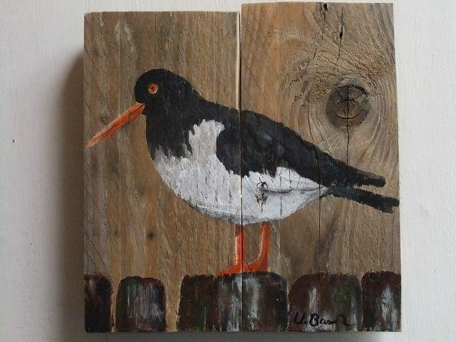 Relativ Austernfischer auf Holz,Acryl von Palettes-Bilder-Shop auf DaWanda AG18