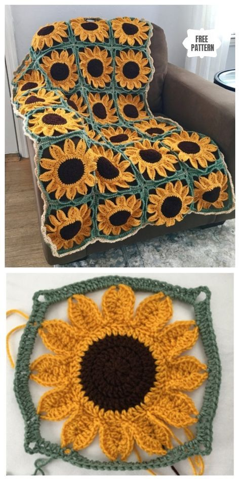 Sunflower Granny Square Blanket Free Crochet Patterns #crochet