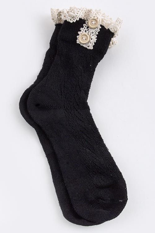 CROCHET KNITTING ANKLE SOCKS WITH LACE -Black