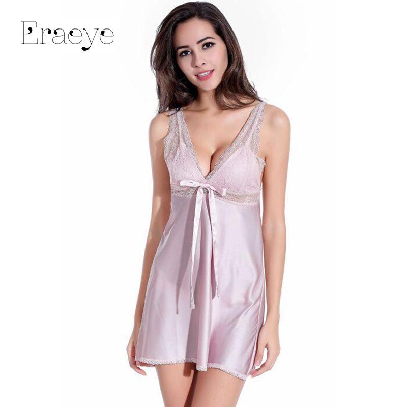 59682b01845 ERAEYE Women Sexy Nightdress Faux Silk Baby Dolls Sleepwear Lace Lingerie  Babydoll Pyjamas Plus Size Nightgowns Sleepshirts