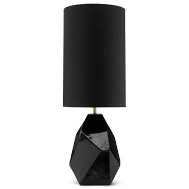 Lighting Modern Drama Faceted Table Lamp I Jcpenney Black Faceted Lamp Glossy Black Table Lamp Geometric Black Lamps Faceted Lamp Decorative Table Lamps