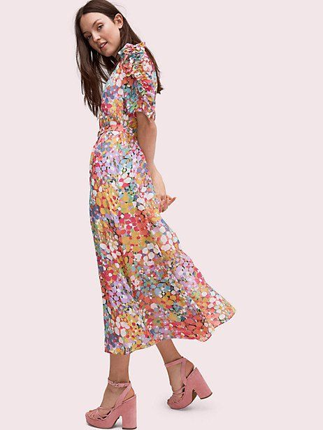 c64ad653 Kate Spade Floral Dots Ruffle Midi Dress, Size 10 in 2019 | Products ...