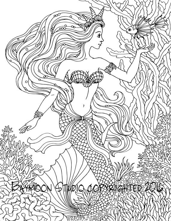 Princess Mermaid Adult Coloring Pages Mermaid Coloring Pages for