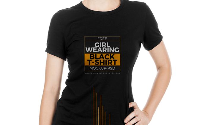Download Free Girl Wearing Black T Shirt Mock Up Psd Wearing Black Girls Wear Black Tshirt