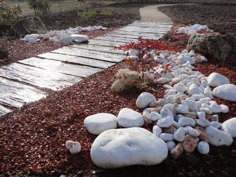 pas japonais + pouzzolane | pavage | Jardins, Jardin mineral et ...