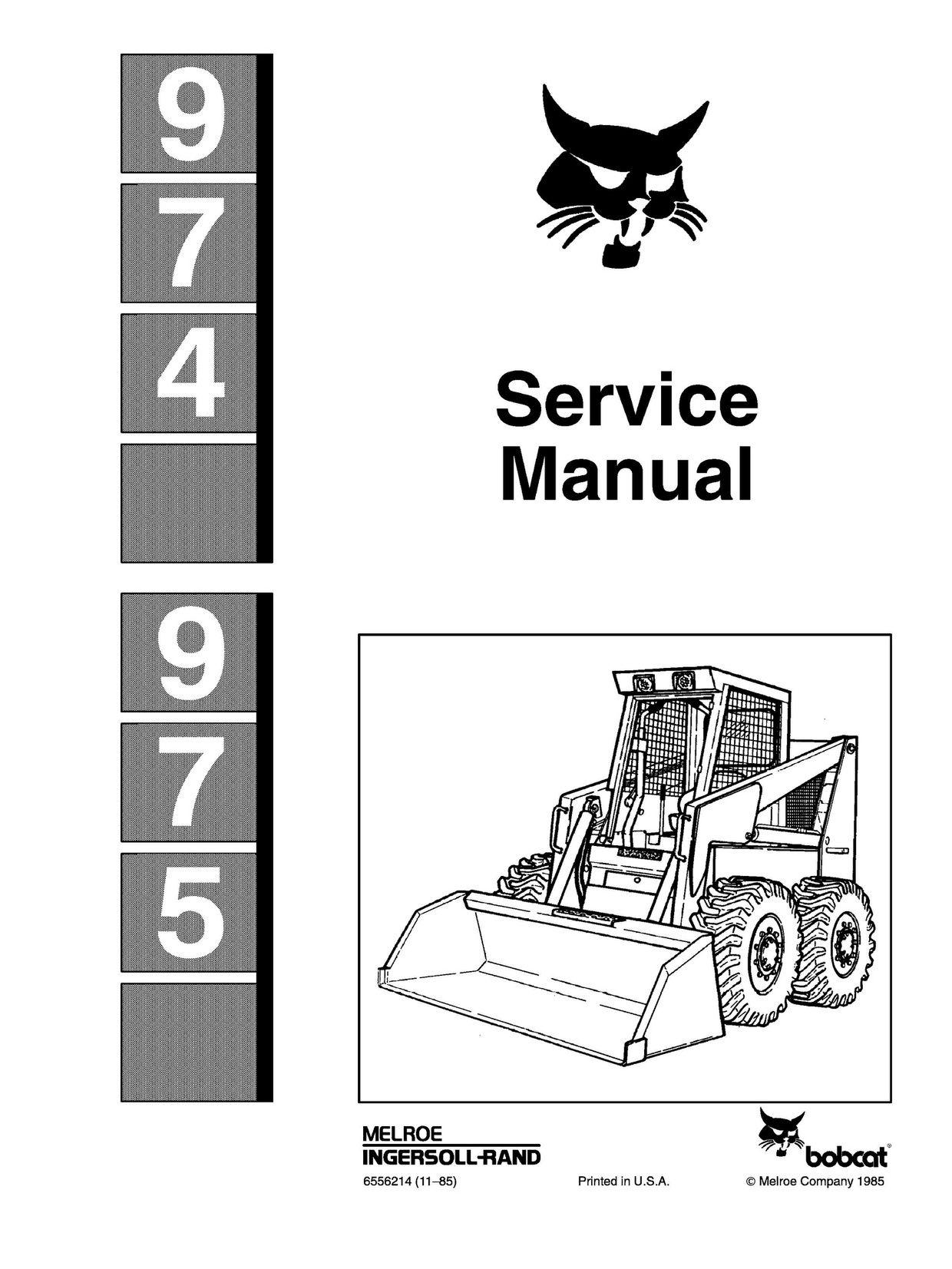 Bobcat 974 975 Skid Steer Complete Service Repair Manual