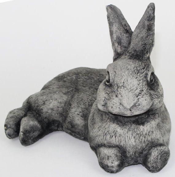 Laying Rabbit Concrete Garden Statue Cement Animal Figure Cast