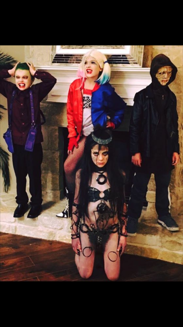 diy suicide squad theme costumes for kids.the joker, harley quinn