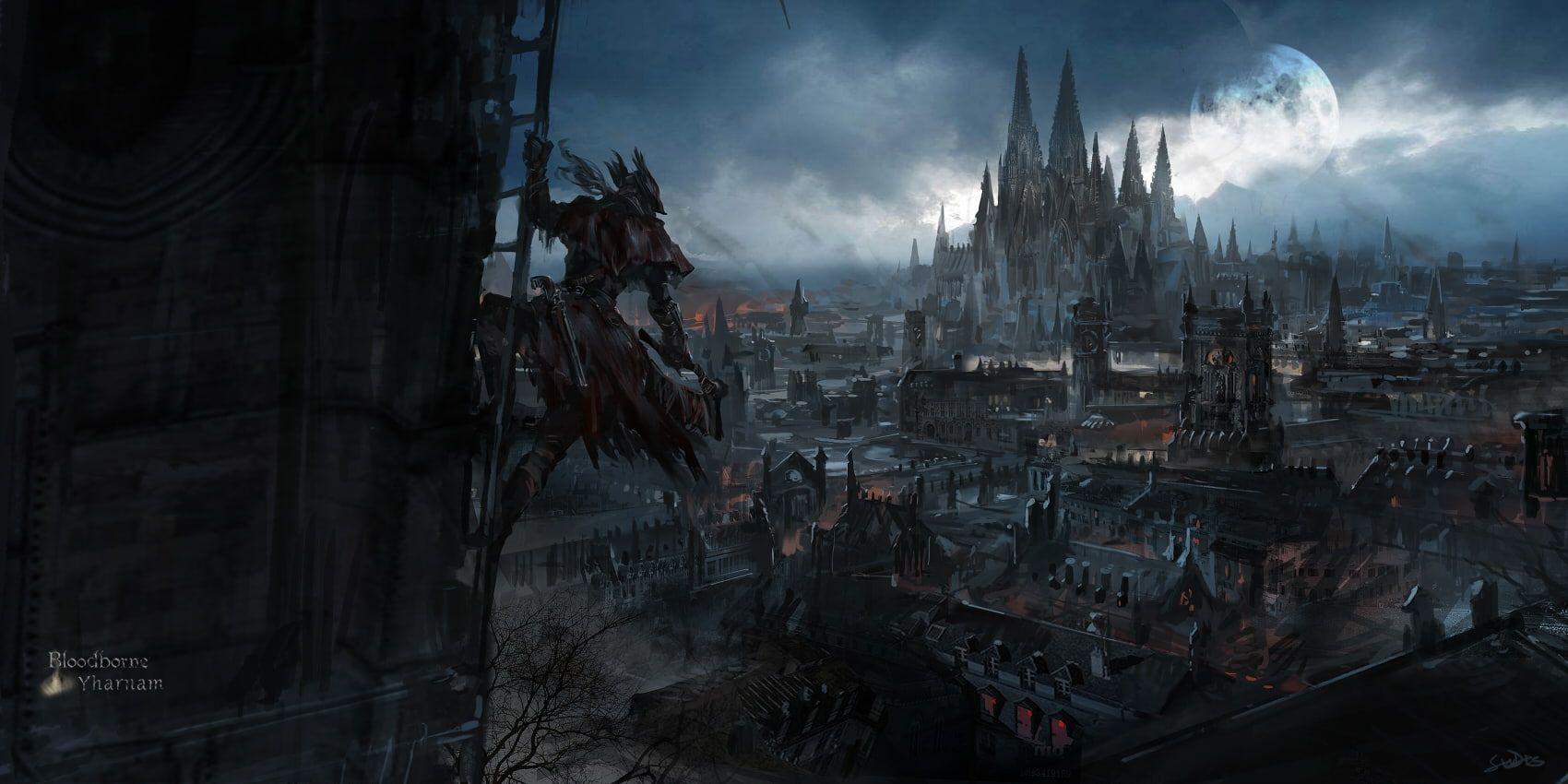 Bloodborne Yharnam Hunter Dark Moon Games 720p Wallpaper Hdwallpaper Desktop In 2020 Fantasy City Dark Wallpaper Bloodborne