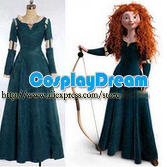 Hot Brave Princess Merida Long Dress Cosplay Costume Women Adult in Stock