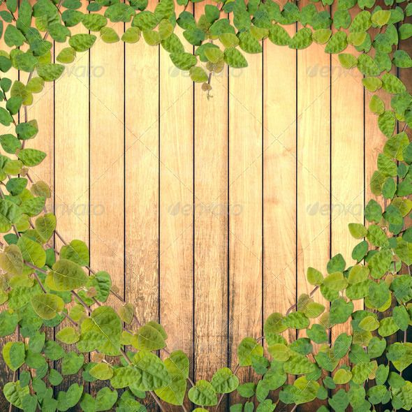 Green creeper plant shaped as heart on wood plank for Green floor plant
