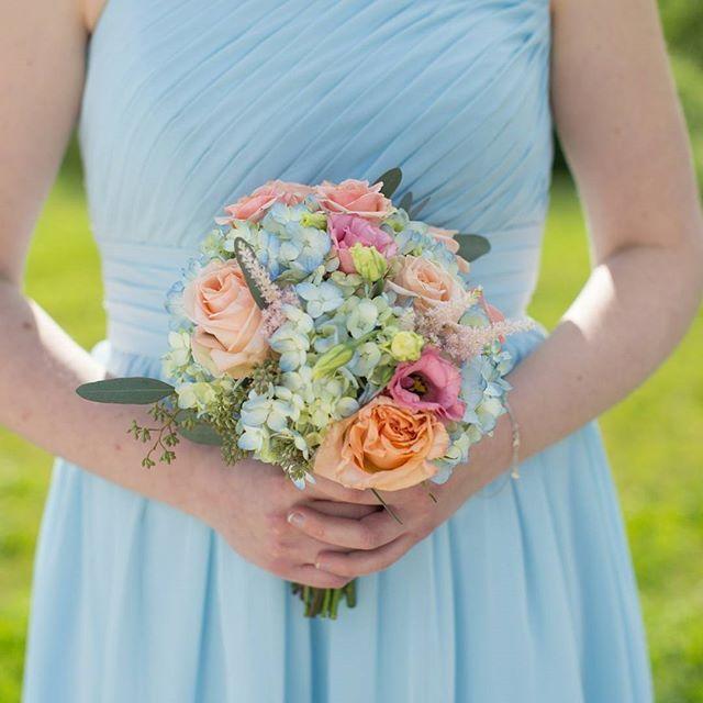 Blue bridesmaids dress hydrangea bouquet pink peach spring    Mokara Floral Design  www.mokarafloral.com