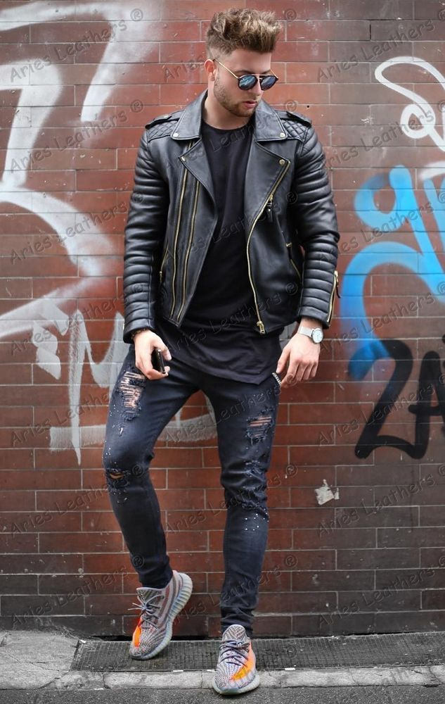 New Yang Boys Style Genuine Leather Jacket Holiday Special Biker Hot ... 48370093e
