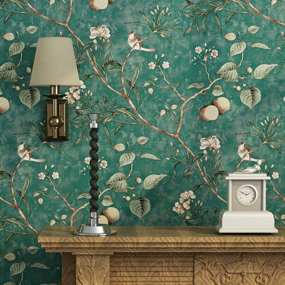 Blooming Wall Vintage Flower Trees Birds Wallpaper For Living