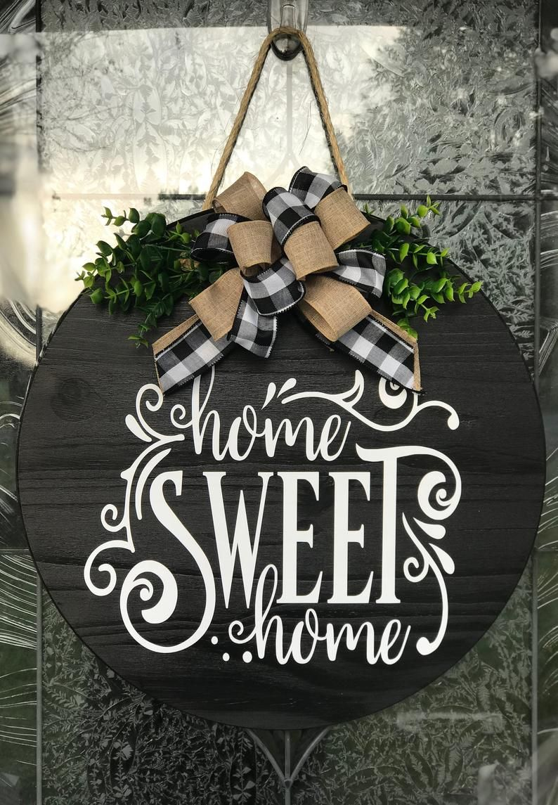 Door Hanger, Wreath, Home Sweet Home Sign, Home Sweet Home Wood Sign, Home Sweet Home Wreath, Front Door Decor Sign, Wedding Gift
