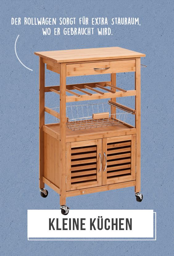Kleine Küchen - Ein Rollwagen sorgt für extra Stauraum genau ...