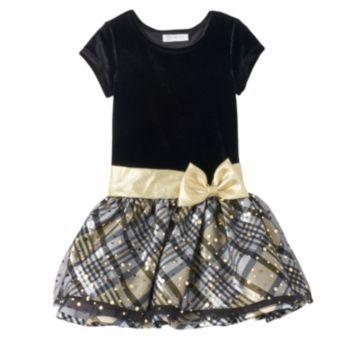 78745e00c7f1 Girls 4-6x Bonnie Jean Velvet Drop-Waist Plaid Dress   christmas ...