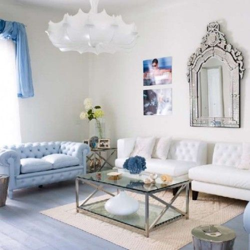 Perfect Rooms With Mirrors Images | Transitional Living Room Features Tufted Sofas,  Chrome Accents And .