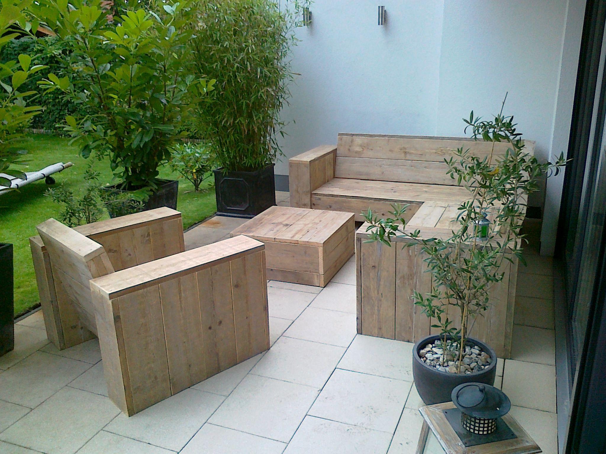 Steigerhouten winkelinrichting tafel meubels lounge hoek bank bed