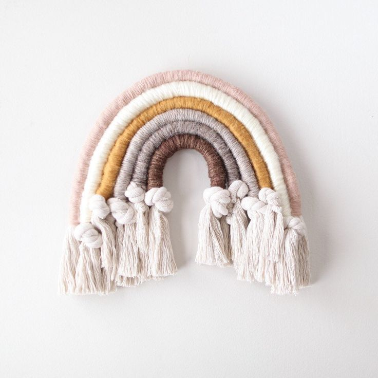 Neutral And Knotted Fiber Rainbow Wall Hanging Rainbow