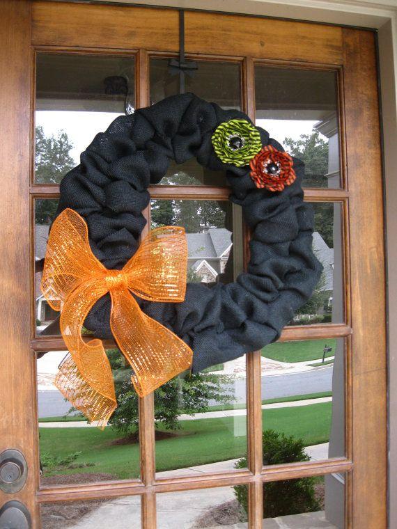 Black Halloween burlap wreath by PlumPerfectCreations on Etsy