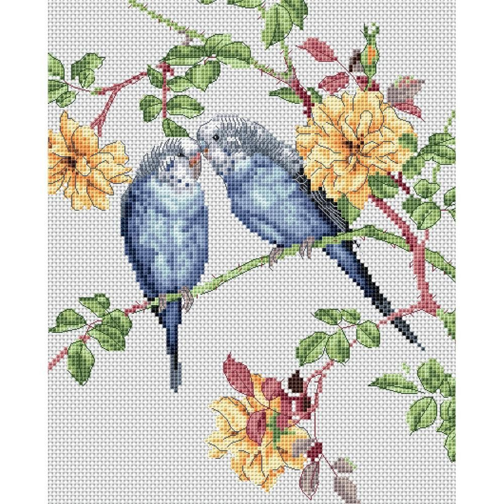 "The Natural World Budgie Love Counted Cross Stitch Kit-7.8""X9.6"" 14 Count"