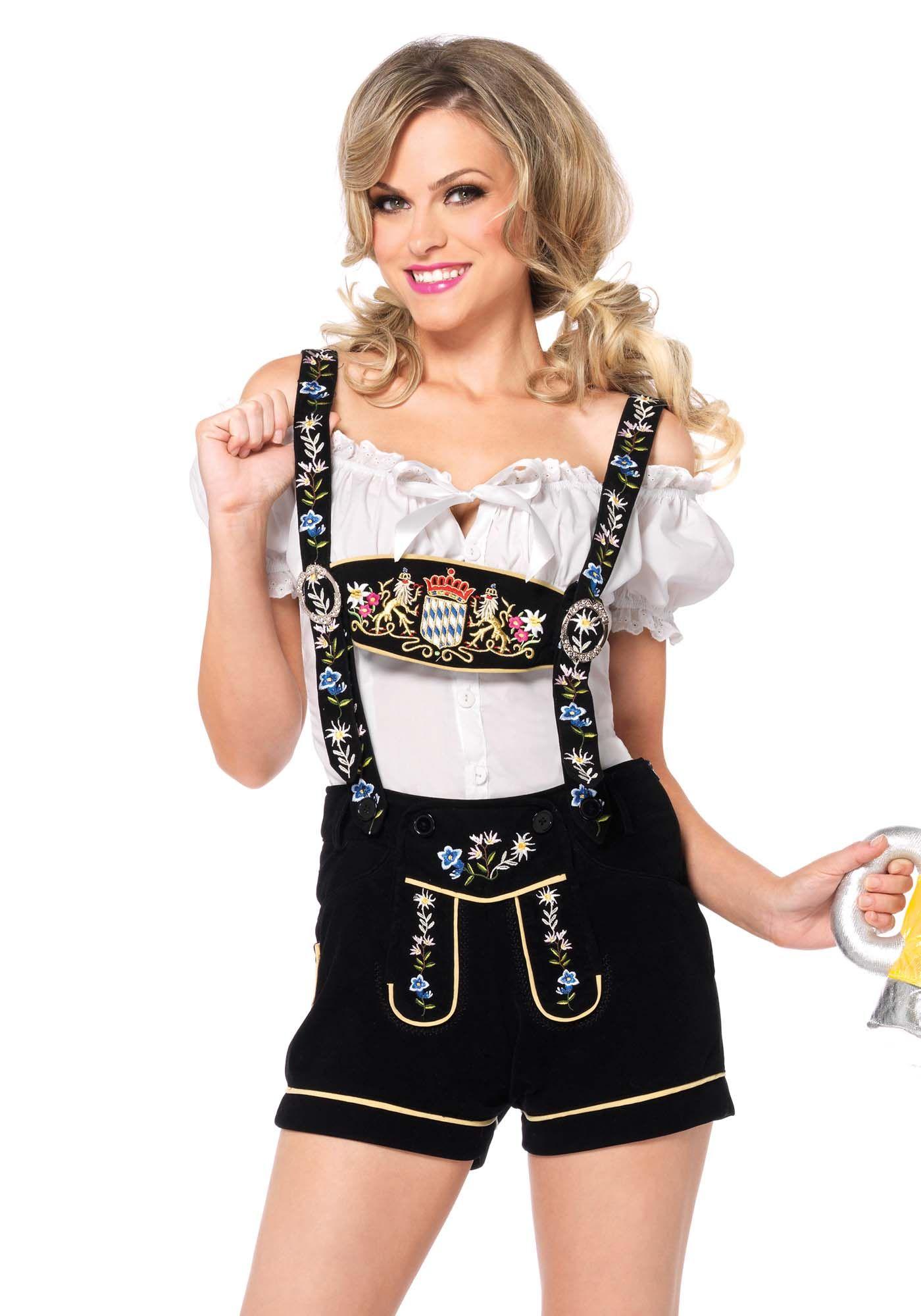 Per la tua festa della Birra indossa questo splendido abito tirolese composto da maglietta bianca con scollo a barca e salopette dcorta con ricami floreali...sarai una perfetta cameriera bavarese!