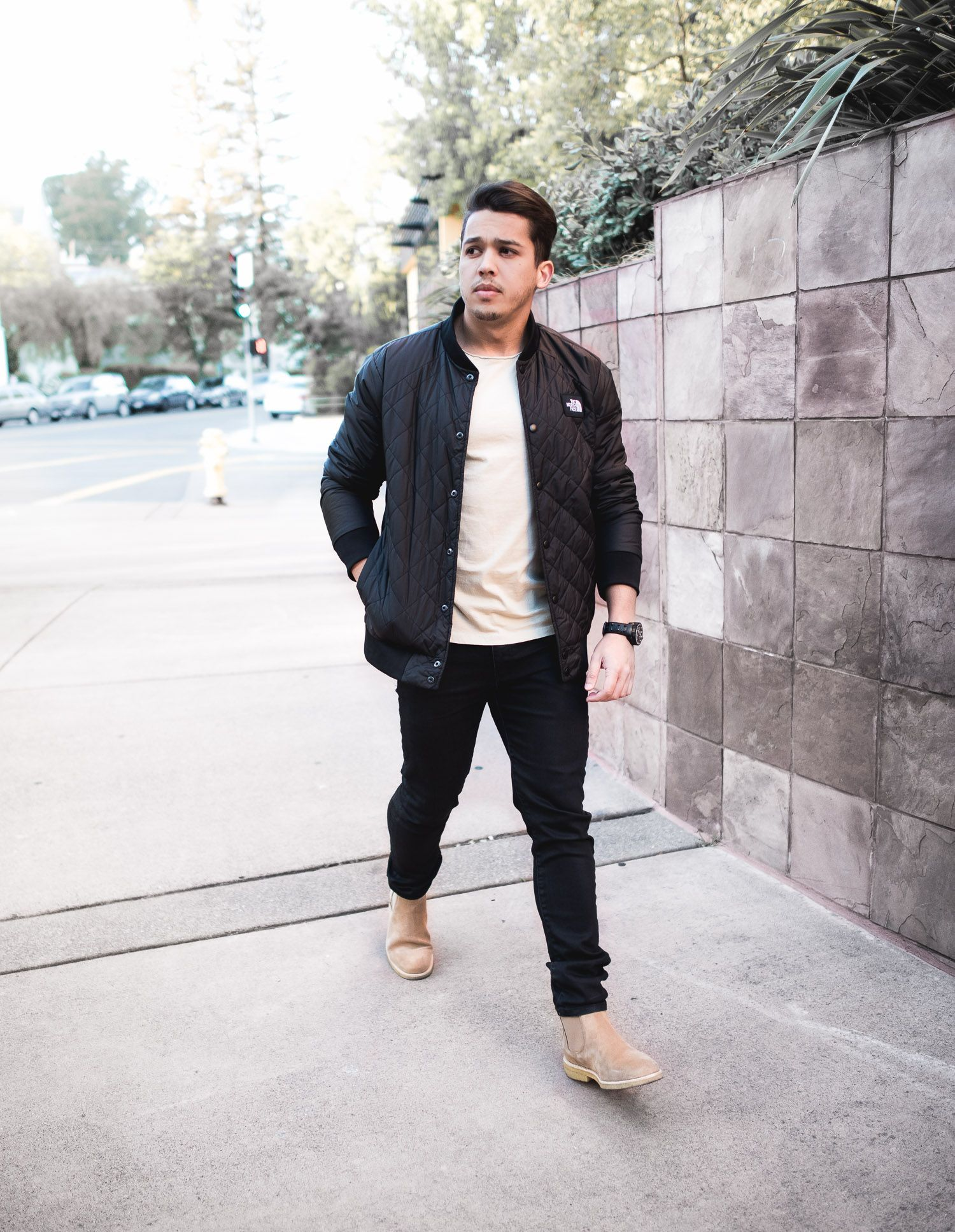 Men\u0027s Outfit Idea Quilted Jacket and Suede Chelsea Boot