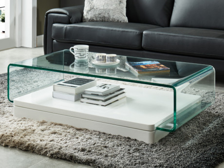 Table Basse Glossie Verre Courbe Mdf Laque Blanc Table Home