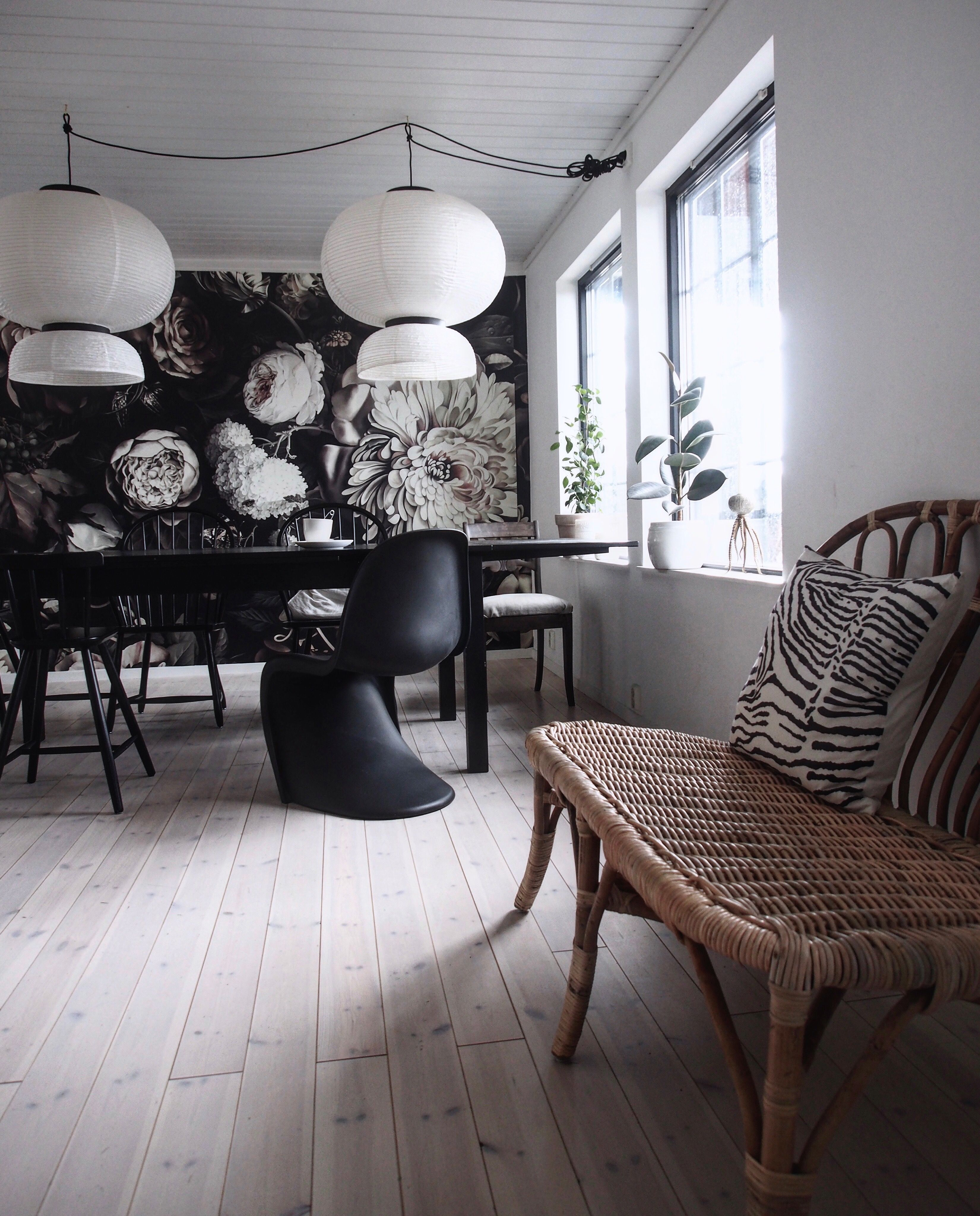 Black floral print wallpaper dark floral wallpaper by ellie cashman - Diningroom By Eclecticdecoration Tradition Lamps Verner Panton Chair And Jassa Bench From Panton Chairdining Nookellie Cashman Wallpaperfloral