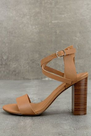 d305c7b5b Keep your style classy chic with the Madelaine Natural High Heel Sandals! Vegan  leather forms a pee-toe strap