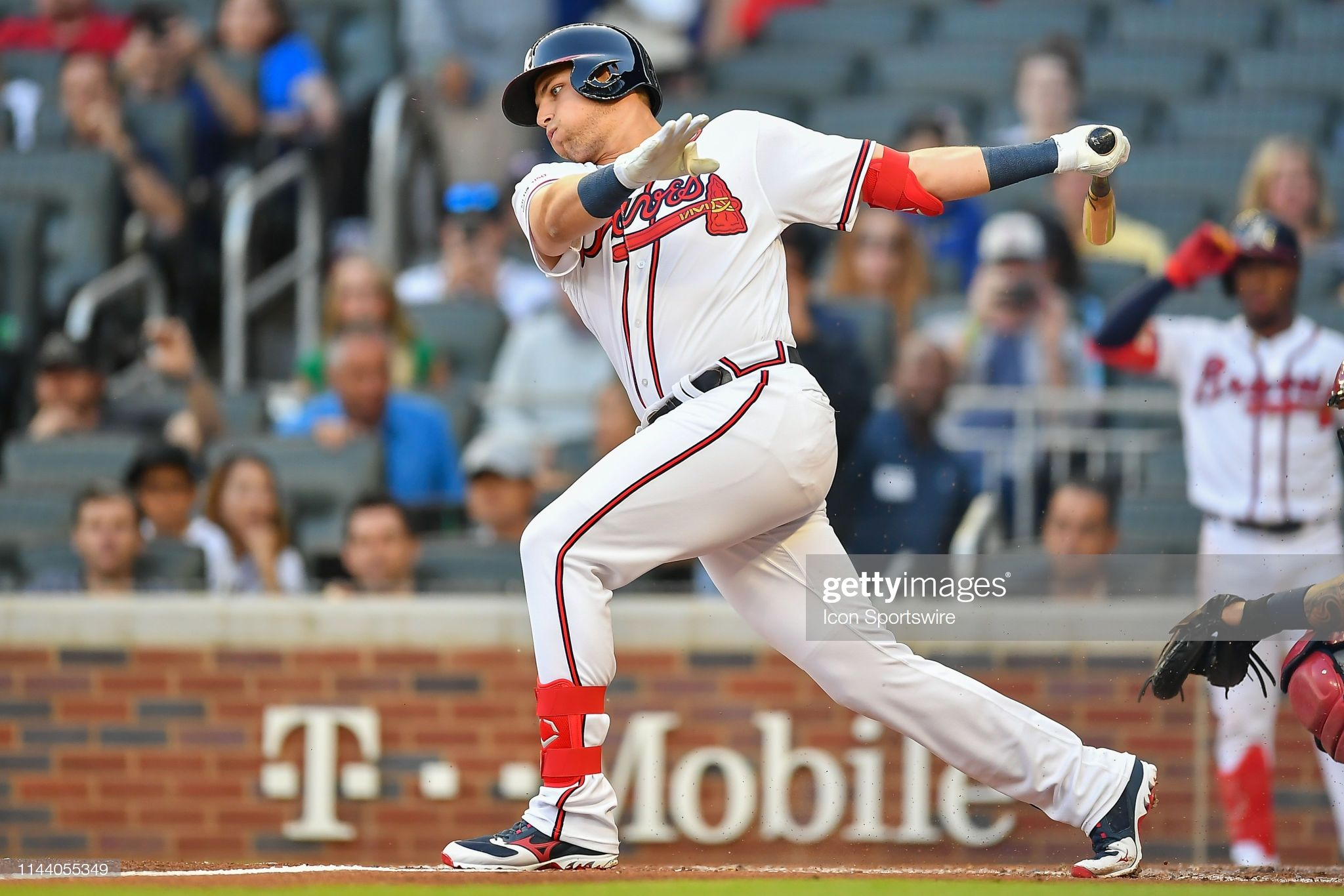 Atlanta Braves Rookie Outfielder Austin Riley Gets His First At Bat Atlanta Braves Braves The Outfield