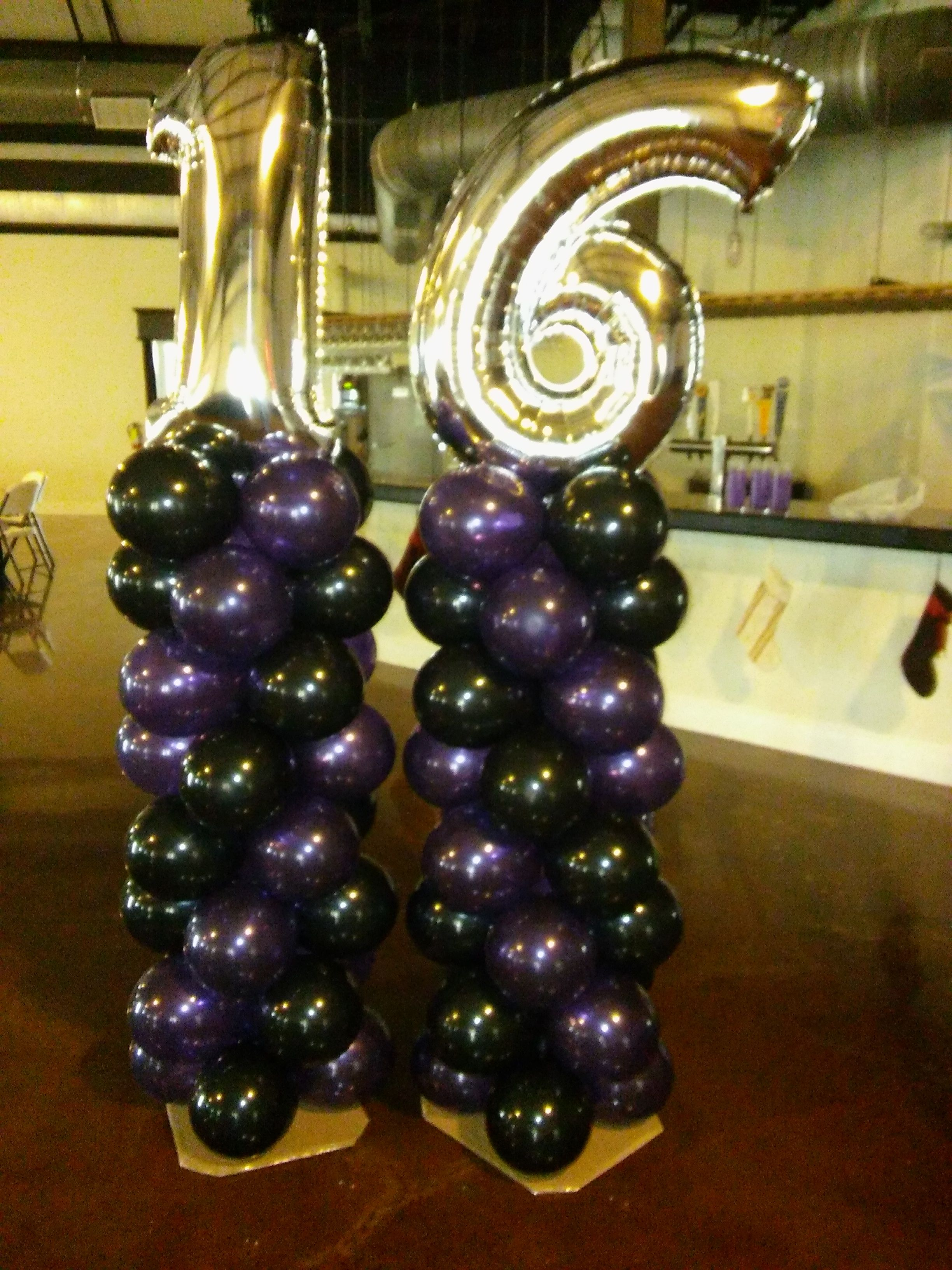 16th Birthday Balloon Columns Topped With Large Gold Foil Numbers We Deliver Color Sheme Purple Black And Party Rentals PJs Rental