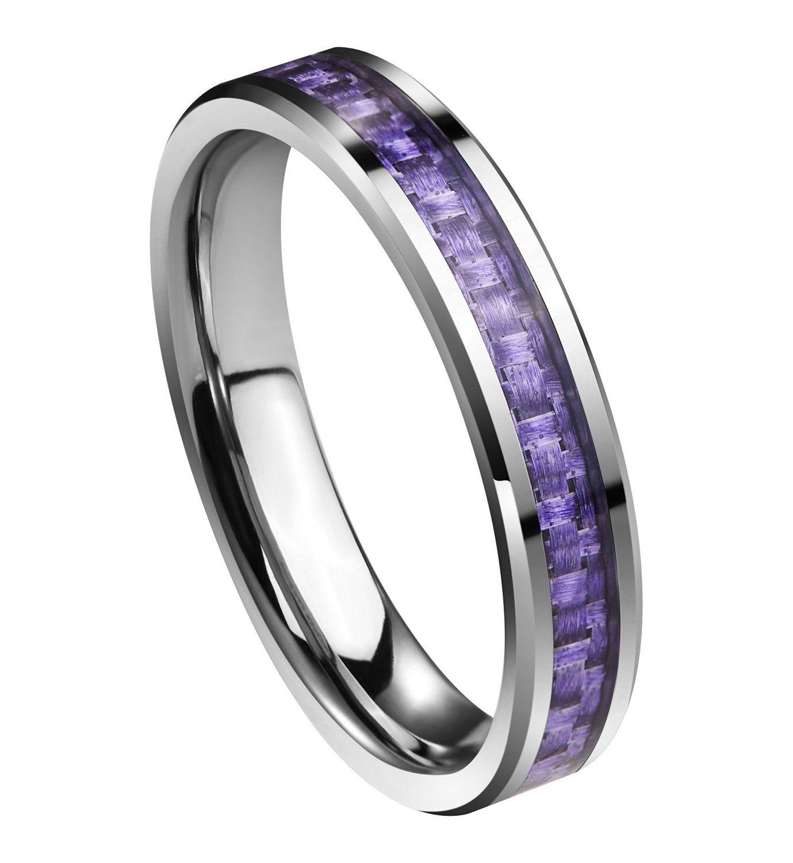 Queenwish Womens 4mm Tungsten Carbide Carbon Fiber Purple