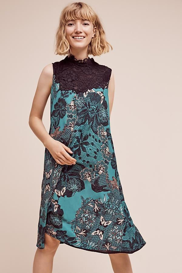 NEW Anthropologie Womens Dress Butterfly Lace Swing Maeve Green Size ...
