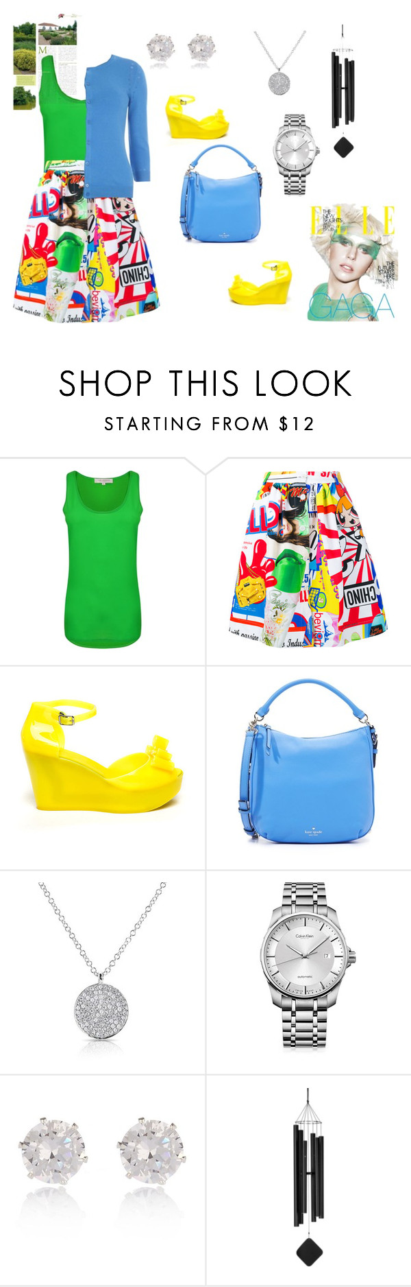 """""""On The Brighter Side. Cardigan #7 #cardigan #springlayers #spring #skirt #green #chill"""" by thedistinctiveme ❤ liked on Polyvore featuring French Connection, Moschino, Kate Spade, Calvin Klein, River Island and Dorothy Perkins"""