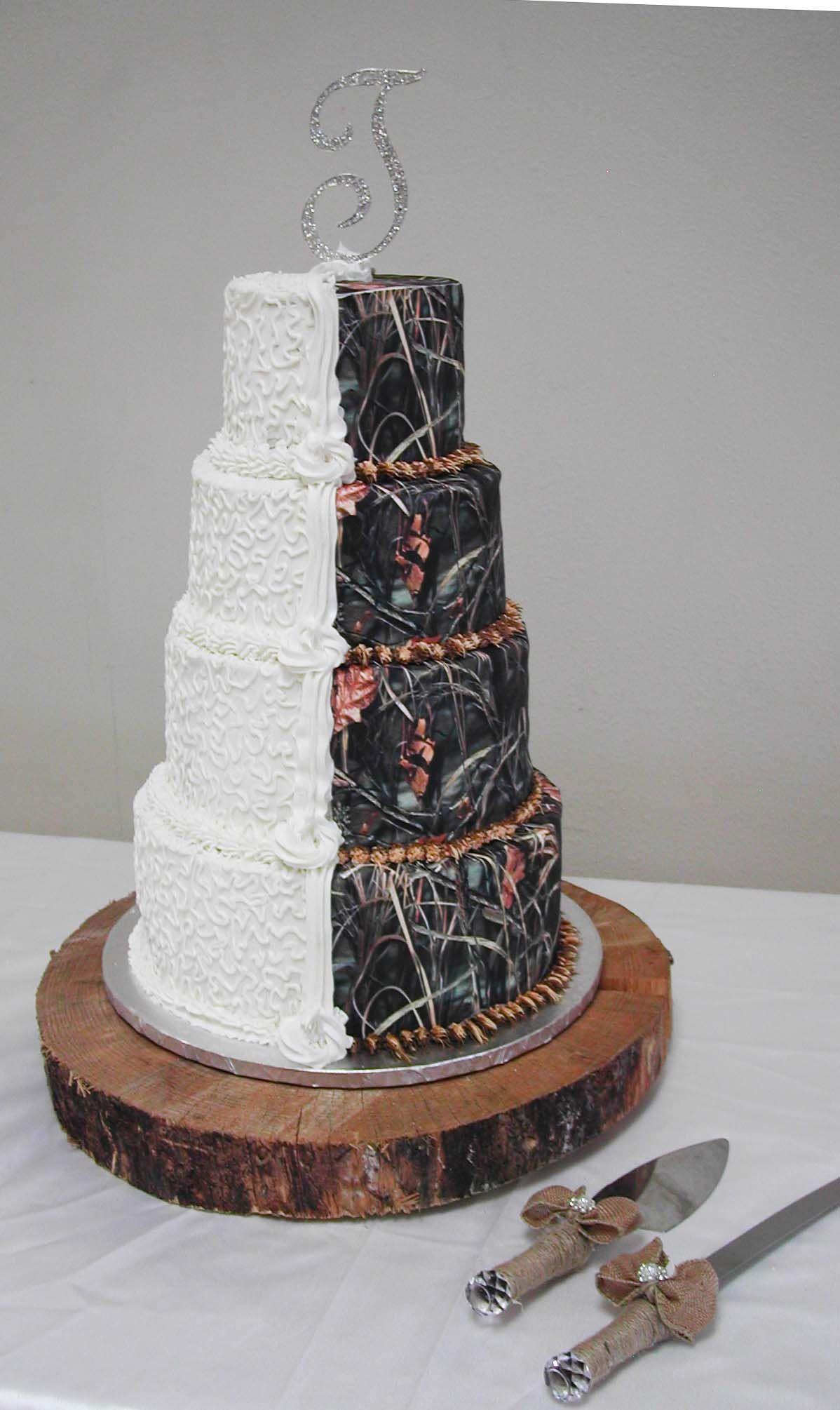 Half Bridal White and Half Camo Wedding Cake Country