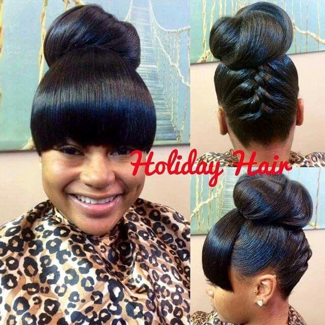 Fabulous High Bun With Bang Black Hairstyles Pinterest Bang Hair Hairstyles For Women Draintrainus