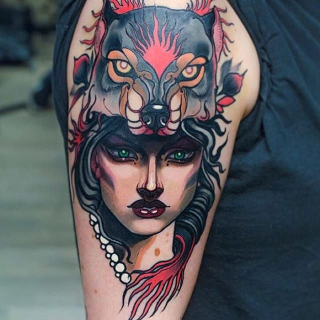 Elegant Neo Traditional Girl Tattoos By Isnard Barbosa Girl Face Tattoo Tattoos Girl Tattoos
