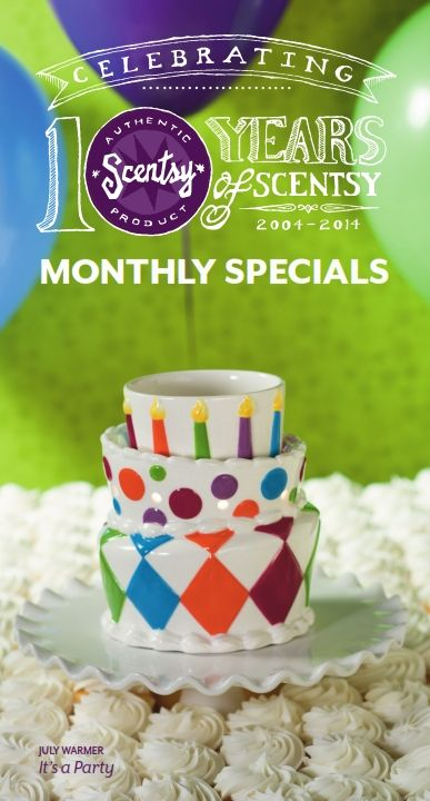 That's right!  July's Scentsy Warmer of the Month is a Birthday Cake Scentsy Warmer!  Scentsy turns 10 this month! Join in the celebration with this topsy-turvy cake. It's decorated in hand-painted colorful fondant, edged in piped frosting, and surrounded by 10 candles to mak your birthday wishes come true.  GET IT HERE at 10% OFF in July 2014!