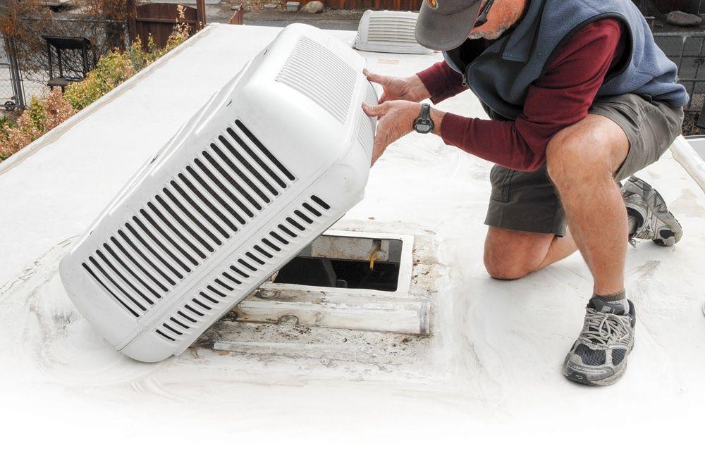 Roof Air Leak Repair Rv air conditioner, Camper repair