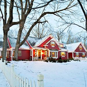 """When I saw this I automatically started humming """"over the river and through the woods, to Grandmother's house we go...."""" this is a perfect winter farmhouse. LOVE IT!"""