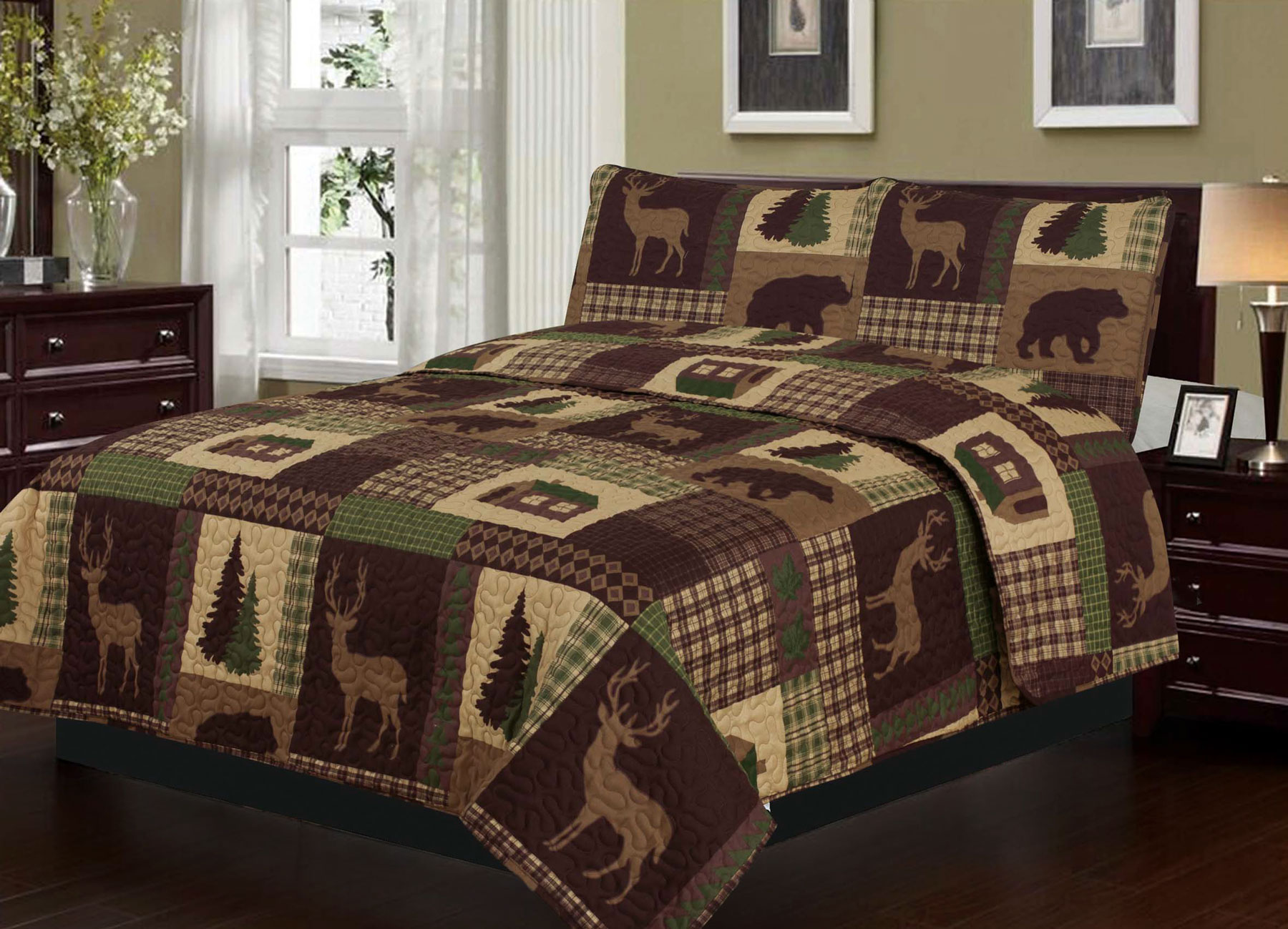 Rustic Cabin Lodge Deer And Bear 3 Piece Full Queen Quilt And Sham Set Walmart Com Cabin Bedroom Decor Bedspreads Rustic Bed Spreads