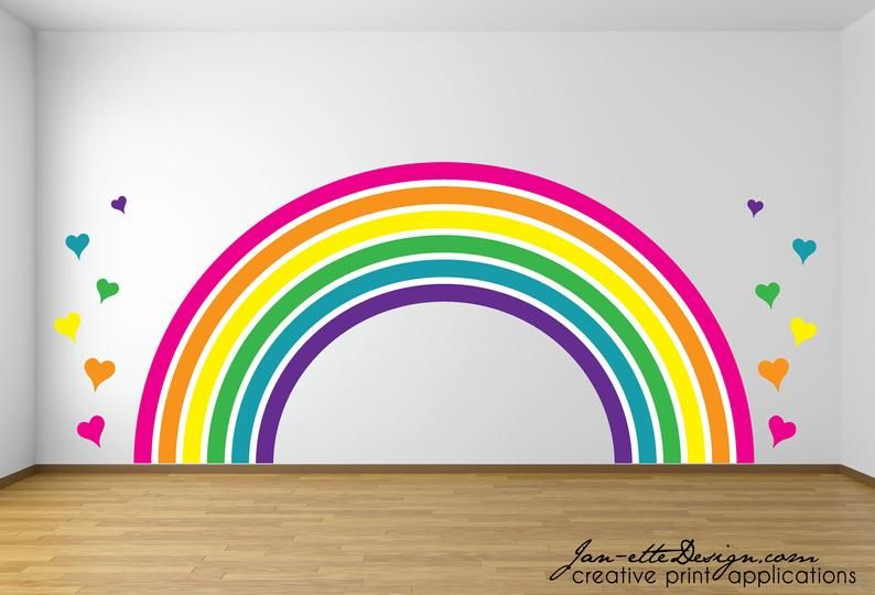 Large Rainbow And Hearts Wall Decal Set Wall Stickersgirls Etsy In 2020 Rainbow Wall Decal Butterfly Wall Decals Heart Wall Decal