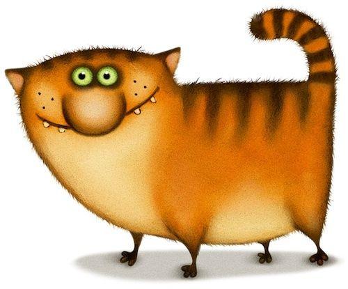 Картинки, рисунки смешных рыжих котов