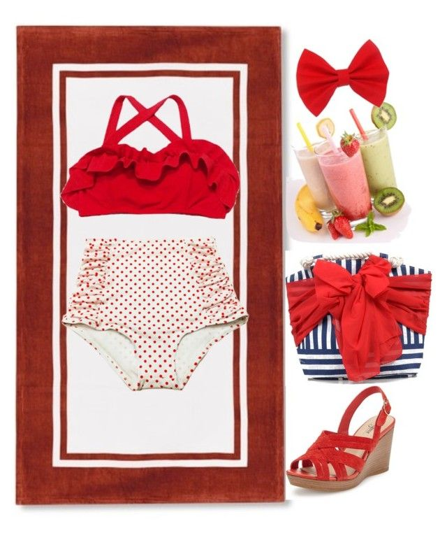 """""""Disney Non-Princess Beach Day: Minnie Mouse"""" by becka-ramey ❤ liked on Polyvore featuring Mud Pie"""