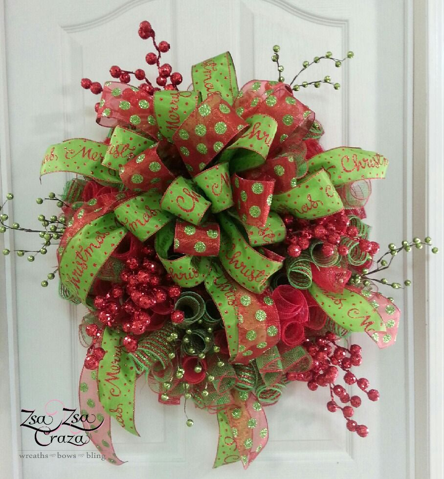 CURLY-Q method deco mesh wreath with HUGH bow and berries. Simple but enough