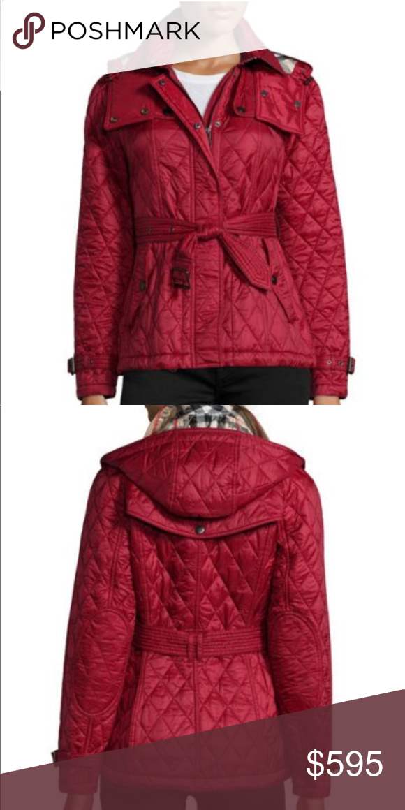 Burberry Finsbridge Nwt Size Xs Short Quilted Jacket Authentic New With Tags Red Color Accepting Offers B Clothes Design Red Leather Jacket Fashion Design