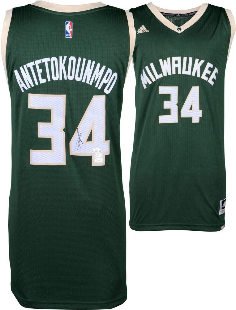 86bb491858a Giannis Antetokounmpo Milwaukee Bucks Autographed Adidas Green Swingman  Jersey #Basketball