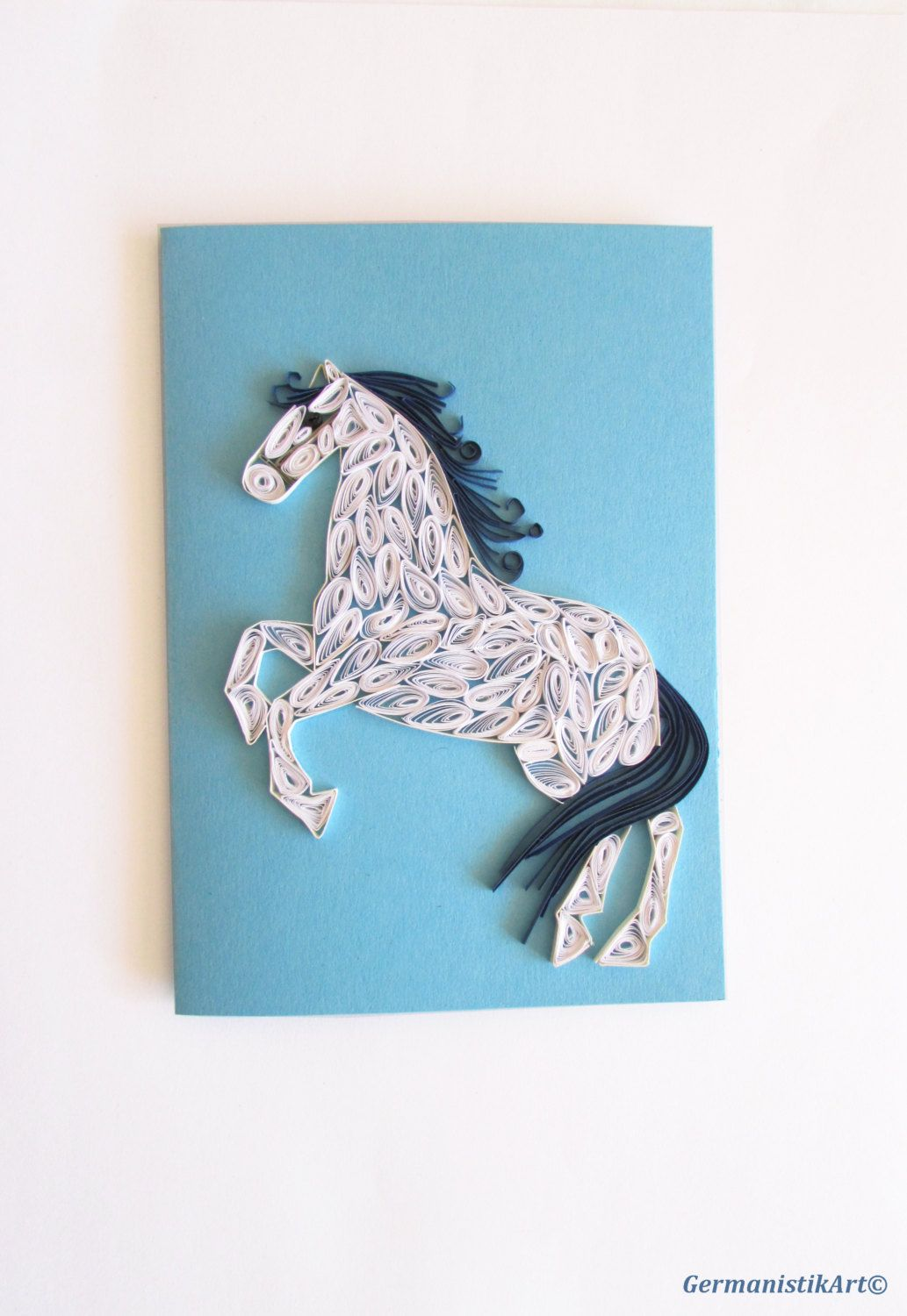 Horse quilling card white horse greeting card blue horse year card horse quilling card white horse greeting card blue horse year card quilling card greeting card quilled card horse quilling horse card horse art horse m4hsunfo